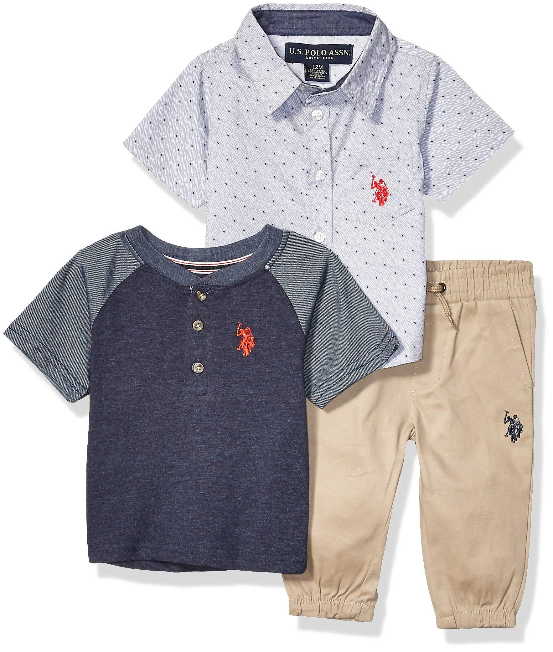 Polo Assn Boys Short Sleeve Woven Henley T-Shirt Set U.S
