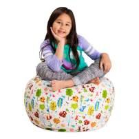 "Posh Stuffable Kids Stuffed Animal Storage Bean Bag Chair Cover - Childrens Toy Organizer, Medium 27"" - Canvas Animals Forest Critters"
