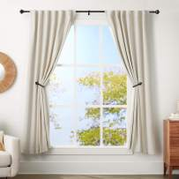 AmazonBasics 1-Inch Urn Finial Curtain Rod with Curtain Holdbacks - 72 to 144 Inch, Black