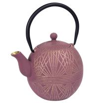Creative Home 34 oz Cast Iron Tea Pot, New Gold and Purple Color