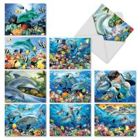 Dolphin-Themed Note Cards with Envelopes (Box of 10), Assorted 'Multi Porpoises' Blank Greeting Cards, All Occasion Stationery for Birthdays, Baby Showers, Thank Yous 4 x 5.12 inch M6643OCB