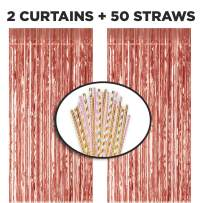 VAVO 2pc Rose Gold Metallic Tinsel Foil Fringe Curtains & 50 Biodegrade Paper Straws – Party Supplies & Decorations – Photo Booth Props & Drinking Straws for Birthday, Wedding & Bachelorette Parties