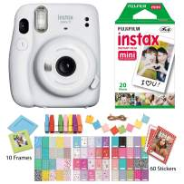 Fujifilm Instax Mini 11 Ice White Instant Camera with Twin Pack Instant Film, Ritz Gear Frame Stickers and Ritz Gear Hanging Frames