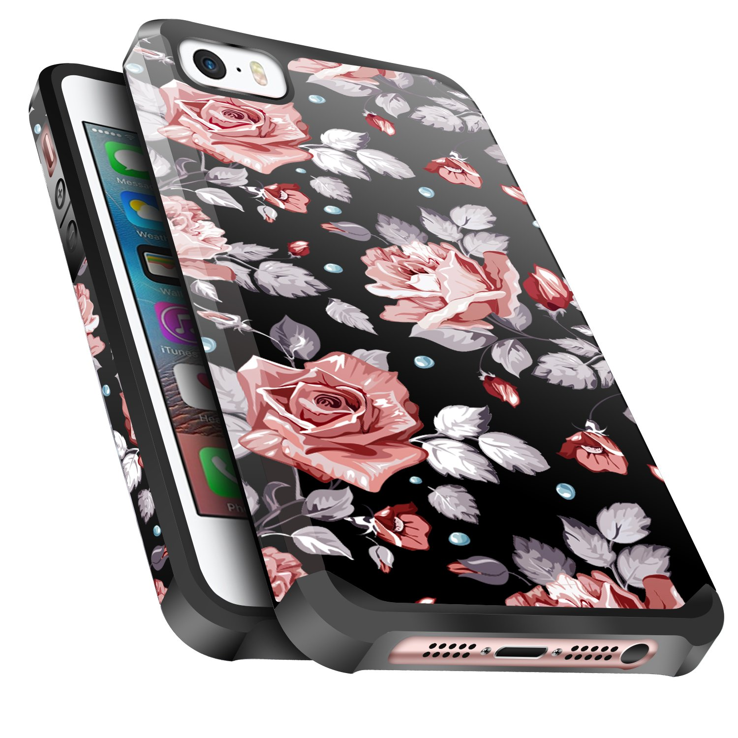 iPhone SE Case,iPhone 5S/5 Case, Miss Arts Anti-Scratch Protective Kit with [Drop Protection] Heavy Duty Dual Layer Hybrid Sturdy Armor Cover Case for iPhone SE 5s 5 -Rose Gold Flower