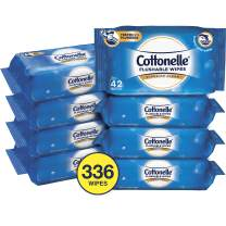 Cottonelle Flushable Wet Wipes for Adults, 8 Resealable Packs, 42 Wipes per Pack (336 Wipes Total)