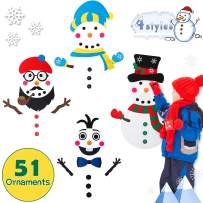 WATINC DIY Felt Snowman Set with 4 Styles Modes 51Pcs Detachable Ornaments, Wall Hanging Decoration, Winter Indoor Outdoors Snowman Party Favors, New Year Gifts for Kids Toddlers, Fun DIY Kids Toys