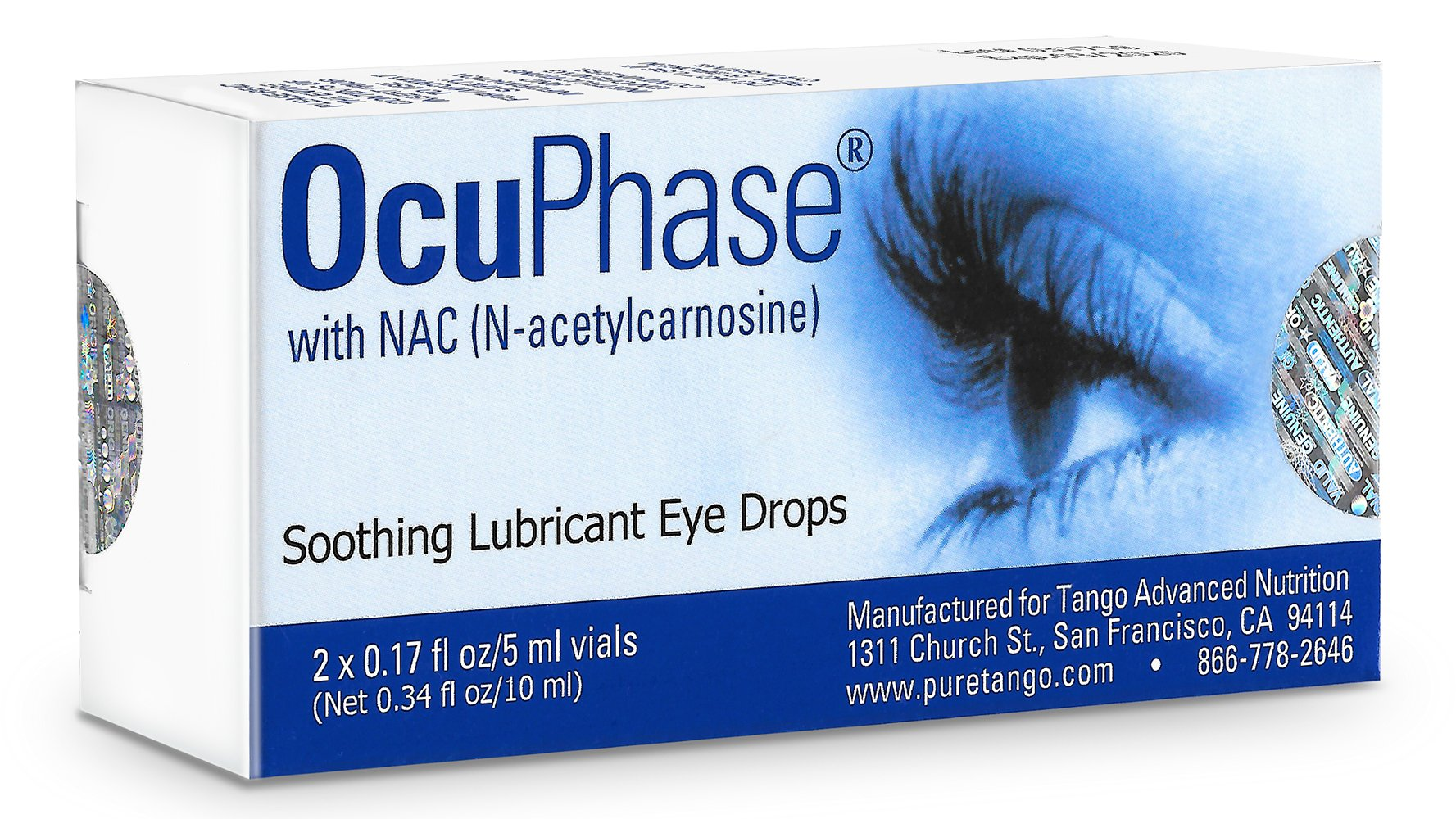 OcuPhase Soothing Lubricant Eye Drops with NAC (N-Acetylcarnosine), 2 x 5 Milliliter Vials