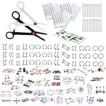 BodyJ4You 320PC Body Piercing Kit Lot 14G 16G Belly Ring Labret Tongue Tragus Random Mix Jewelry