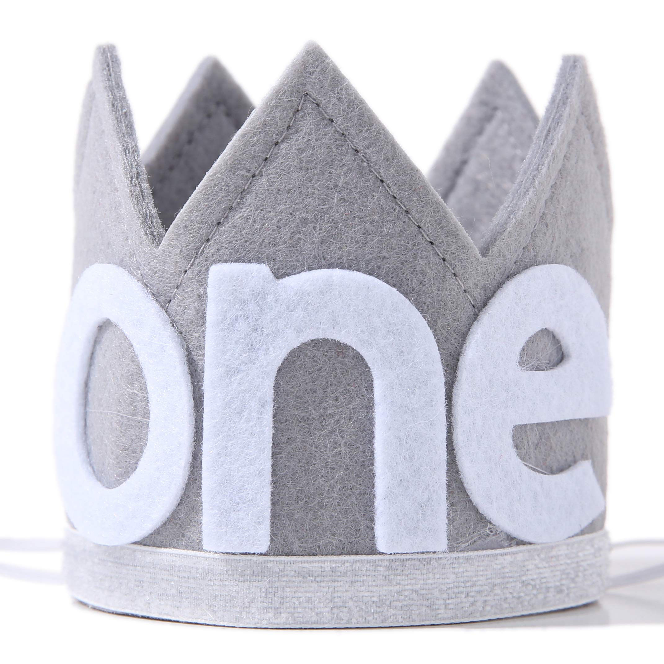Baby ONE Crown for 1st Birthday - First Birthday Party Headband,Boy or Girl Glitter Crown, Newborn Photography Prop, Prince or Princess Souvenir and Gifts(Gray Crown Hat)