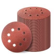 100PCS 5 Inch 8 Hole Hook and Loop Sanding Discs Sandpaper, 60 80 120 180 240 320 400 Grits Sand Paper for Random Orbital Sander