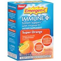 Emergen-C Immune+ Vitamin C 1000mg Powder, Plus Vitamin D And Zinc (10 Count, Super Orange Flavor), Immune Support Dietary Supplement Fizzy Drink Mix, Antioxidants & Electrolytes