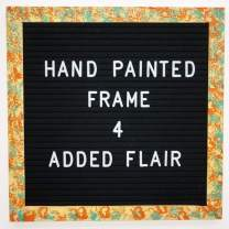 Felt Letter Board Message Board - Announcement Letterboard –10 x 10 with Hand Painted Frame - Changeable Letter Word Board with Letters | Baby Announcement Board (Teal/Orange/White)
