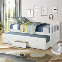 Day Bed with a Trundle and 3 Storage Drawers Solid Wood Trundle Bed with Built-in smoothly casters Great for Sleepovers, Underbed Storage/Organization (White)