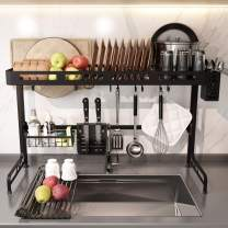Over the Sink Dish Drying Rack with Roll up Dish Drying Rack, Kitchen 2 Tier Large Dish Rack with Utensil Holder & Drainboard Set Hooks for Kitchen Counter Organizer Storage Supplies Shelf Black