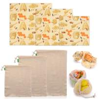 EKKONG 3 Reusable Beeswax Wrap Food Storage and 3 Reusable Cotton Mesh Produce Bag, Eco Friendly, Sustainable Food Storage   Sandwich, Cheese, Fruit, Natural Material (Honeycomb)