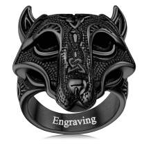 FaithHeart Norse Viking Jewelry Mens Stainless Steel Vikings Thor's Hammer/Wolf Head Ring Valknut Warrior's Gothic Jewelry-Personalized Engrave