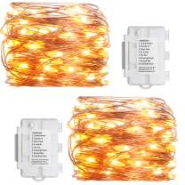 Koopower 2 Pack Led String Lights, 16ft 50 LEDs Battery Operated String Lights Outdoor Waterproof Fairy Light 8 Modes Decorative Copper Wire Light for Gardens Christmas …