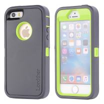 Lordther iPhone SE Case, [ShieldOn Series] [Military Grade Drop Test] Hybrid Synthetic Rubber TPU Covers with [Screen Protector] Only for iPhone SE 5SE 5 5s (Grey Green)