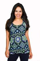 Lady 12 Women's Racerback Tank Top with Stylish Twist - Seattle Football Color Tribal Graphic Print (XS-4X)