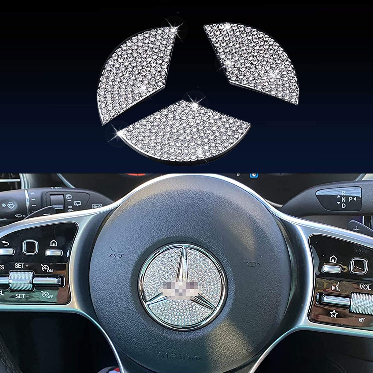 MIUOPUR Steering Wheel Logo Caps for Audi Accessory Parts. Bling Diamond Crystal Emblem Sticker, Interior Decorations Badge Covers. Suitable for Audi A3 A4 A5 A6 Q5 Q7 (Fit for Mercedes Benz 45mm)