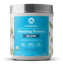 Amazing Grass GLOW Vegan Collagen Support with Biotin and Plant Based Protein Powder, Vanilla Honeysuckle, 15 Servings