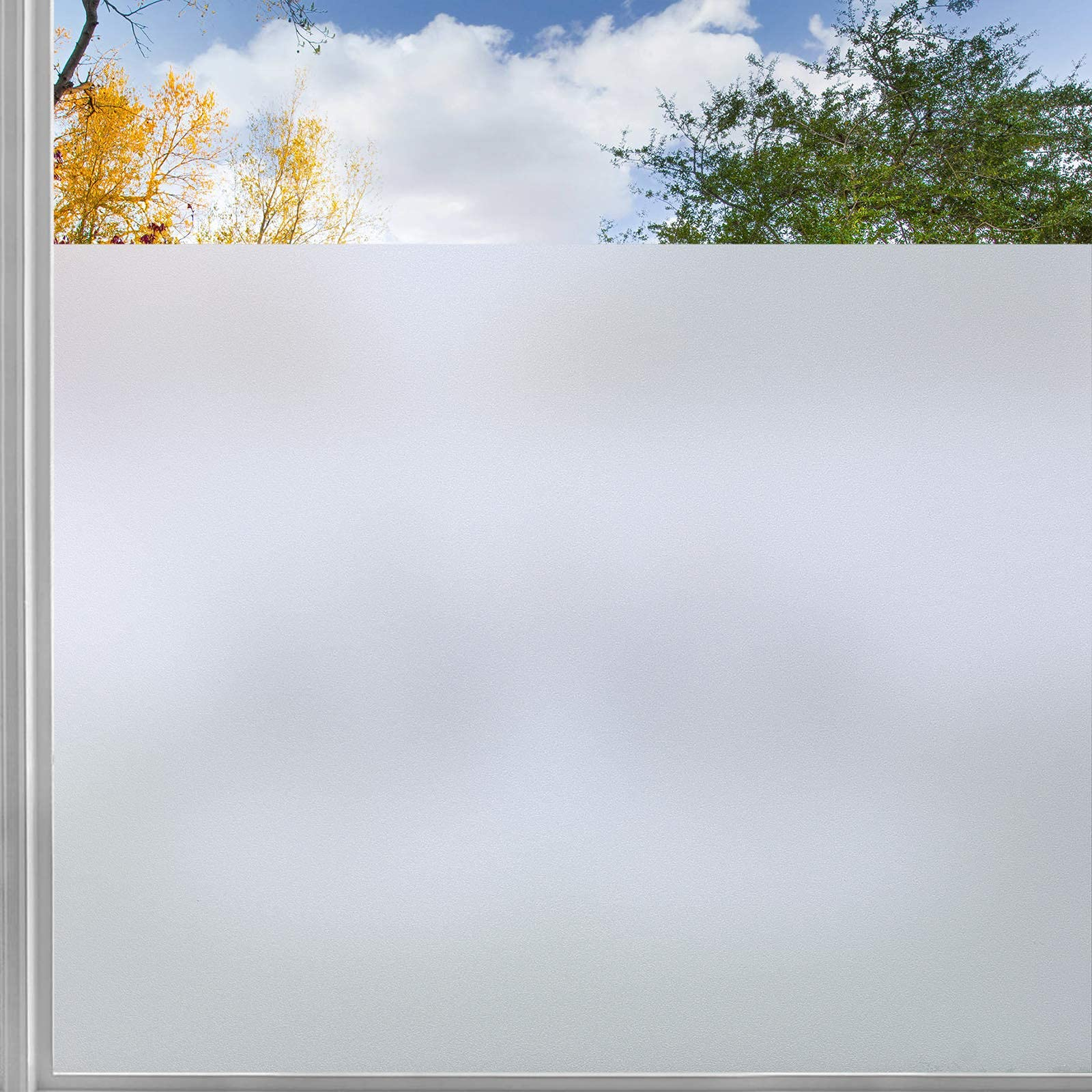rabbitgoo Privacy Window Film, Frosted Sticker with Grid Lines Backing, Removable Opaque UV Protection Glass Covering Non-Adhesives Static Decals Cling for Home, 35.4 x 118 inches, Grid Lines Backing