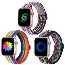 Dsytom Adjustable Elastic Band Compatible with Apple Watch Bands 38mm 40mm 42mm 44mm Scrunchies Stretchy Leopard Pattern Soft Strap Women Replacement Wristband for iWatch Series SE/6/5/4/3/2/1 Women