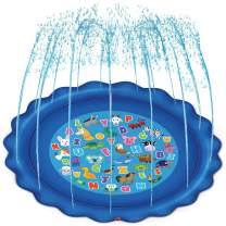 """JOYIN Sprinkler & Splash Play Mat for Learning, 68"""" Outdoor Water Sprinkler Toys – """"from A to Z"""" Alphabet Animals Outdoor Swimming Pool for Babies Kids and Toddlers Splash Pad"""