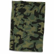 """3D Rose Dark Green Camo Print-Hunting Hunter Or Army Soldier Uniform Style Camouflage Woodland Pattern Towel, 15"""" x 22"""", Multicolor"""