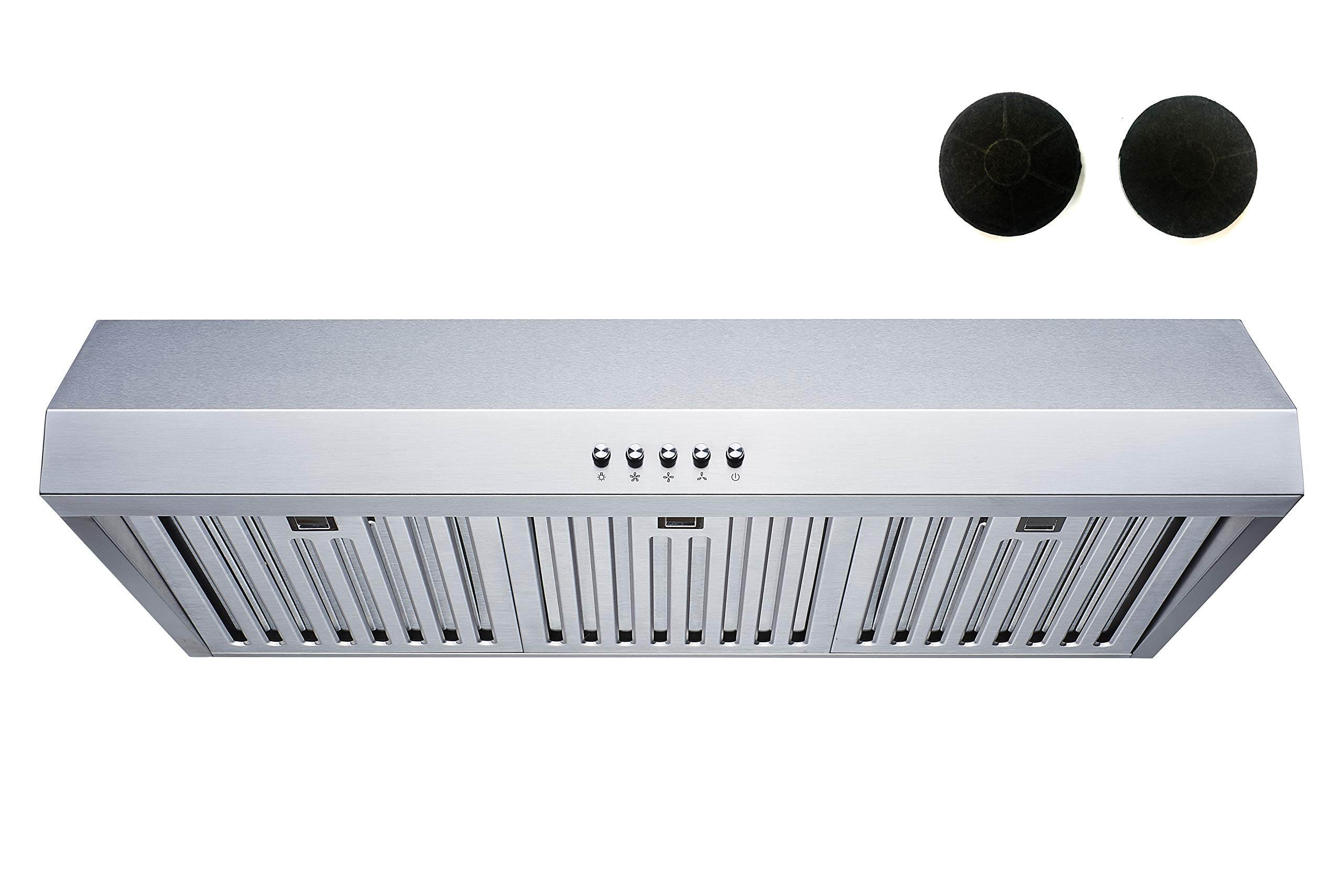 Winflo 30 In. 480 CFM Convertible Stainless Steel Under Cabinet Range Hood with Stainless Steel Baffle Filters and Charcoal Filters and Push Button Control