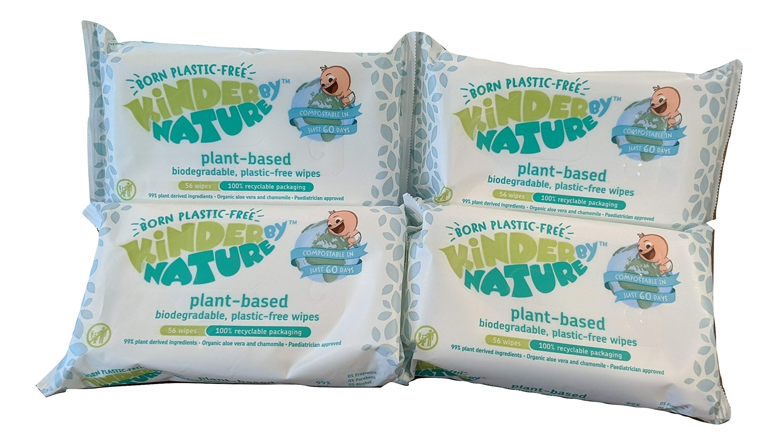 Kinder by Nature Plant Based Baby Wipes - 100% Biodegradable & Compostable, 224 Count (4 Packs of 56) - 99% Plant-Based Ingredients, 0% Plastic