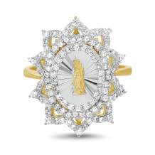 MY BIBLE Yellow Gold and Rhodium Plated Sterling Silver Cubic Zirconia Religious Miraculous Floral Border Ring for Women (Various Sizes)