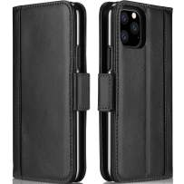 Procase iPhone 11 Pro Genuine Leather Case, Vintage Folio Flip Case with Card Holders Kickstand Leather Wallet Case for iPhone 11 Pro 2019 –Black