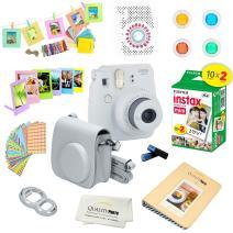 Fujifilm Instax Mini 9 Instant Camera w/Fujifilm Instax Mini 9 Instant Films (20 Pack) + A14 Pc Deluxe Bundle for Fujifilm Instax Mini 9 Camera (smokey white)