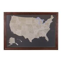 Push Pin Travel Maps Earth Toned US with Solid Wood Cherry Frame and Pins - 27.5 inches x 39.5 inches