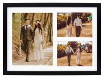 Golden State Art, 12x17 Black Wood Picture Frame - White Mat for 8x10 and 5x7 Photos - Real Glass, Sawtooth Hanger, Swivel Tabs - Wall Mounting - Great for Posters, Weddings, and Engagements