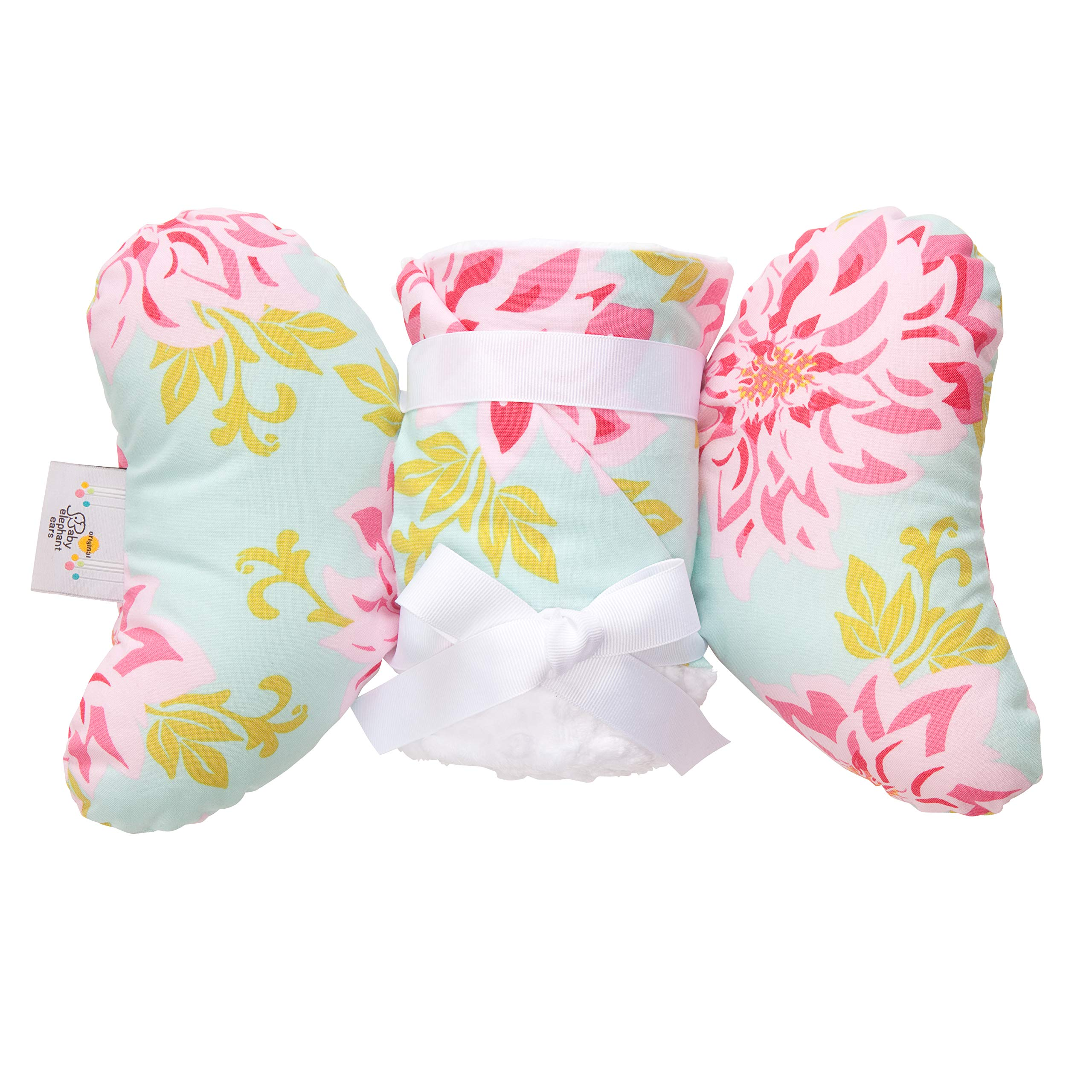 Baby Blanket and Pillow Set, for Newborn Babies to Toddlers, Gift Set for Baby Showers, Birthdays, or Holidays - Baby Elephant Ears (Dahlia)