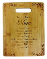 Recipe for a Mom Cute Funny Laser Engraved Bamboo Cutting Board - Wedding, Housewarming, Anniversary, Birthday, Mother's Day,Gift For Him, For Her, For Boys, For Girls, For Husband, For Wife, For Them