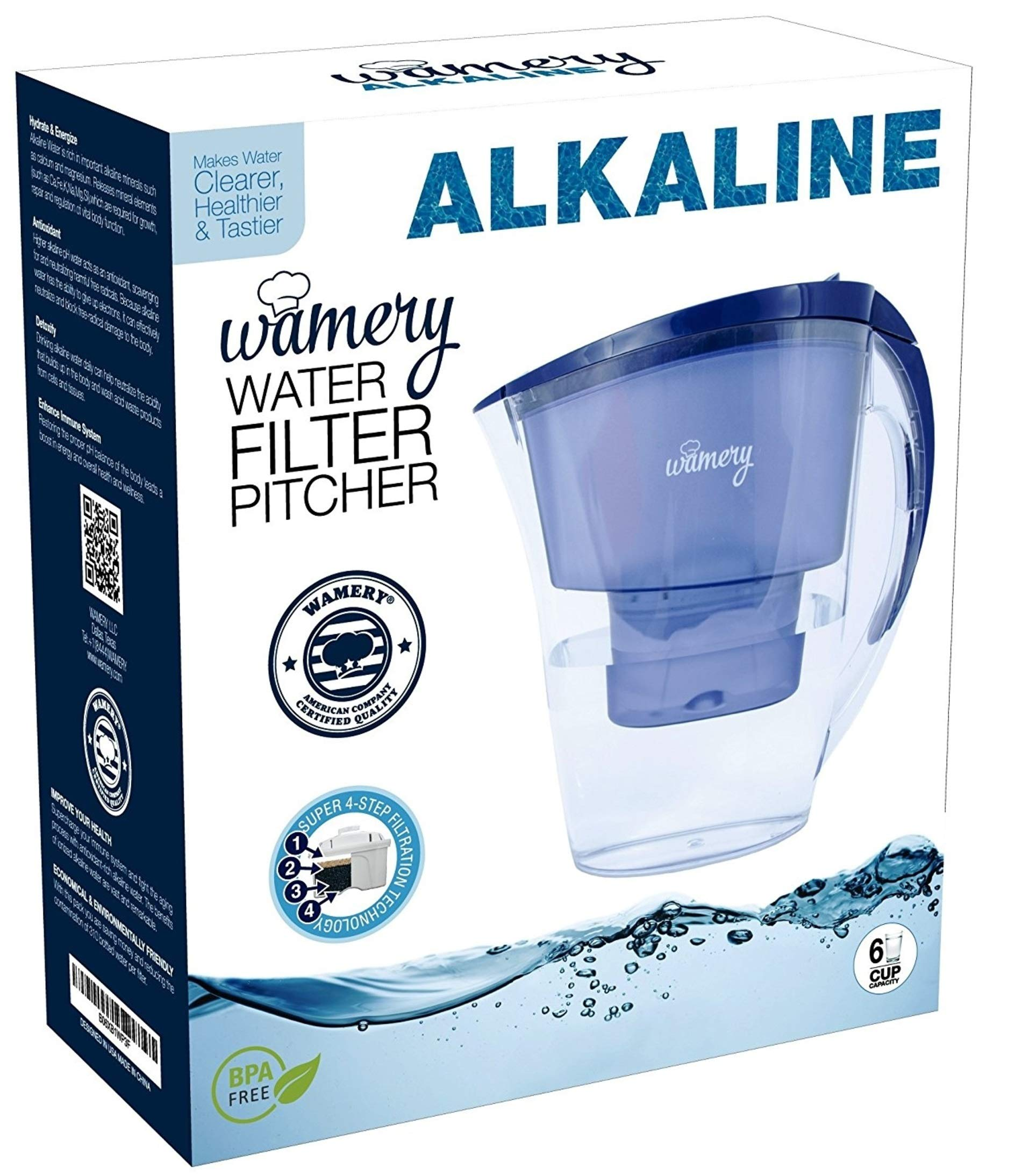 WAMERY Alkaline Water Pitcher 1.5 Liters, 6 Cup, Enhanced 2020 Slim Model, Free Filter Included, Improves pH, Removes Lead, Chlorine, Copper and more. Natural Solution for Acid Reflux and Dehydration