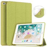 Soke iPad 9.7 2018/2017 Case with Pencil Holder, Smart iPad Case Trifold Stand with Shockproof Soft TPU Back Cover and Auto Sleep/Wake Function for iPad 9.7 inch 5th/6th Generation, Light Green