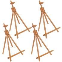 "U.S. Art Supply Topanga 31"" High Tabletop Wood Folding A-Frame Artist Studio Easel (Pack of 4) - Adjustable Beechwood Tripod Display Stand, Holds Up to 27"" Canvas - Portable Table Desktop Holder"