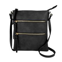 DELUXITY Essential Casual Functional Multi Pocket Double Zipper Crossbody Purse Bag Shoulder Bag for Women