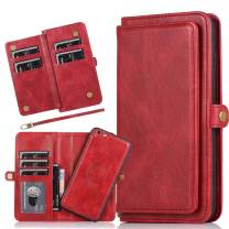 Harsel 7 Card Slots Magnetic Closure Detachable Flip PU Leather Wallet Purse Case with Strap Durable Protective Silicone Covers Shells for Women Men for Apple iPhone 6s Plus (Red)