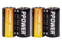 PPOWER CR123A Lithium 3V Photo Batteries with Battery Storage Box, 12-20 Pack 1600mAh CR123A Batteries for Arlo Cameras, Polaroid, Microphones, Flashlight, Non-Rechargeable (4pcs)
