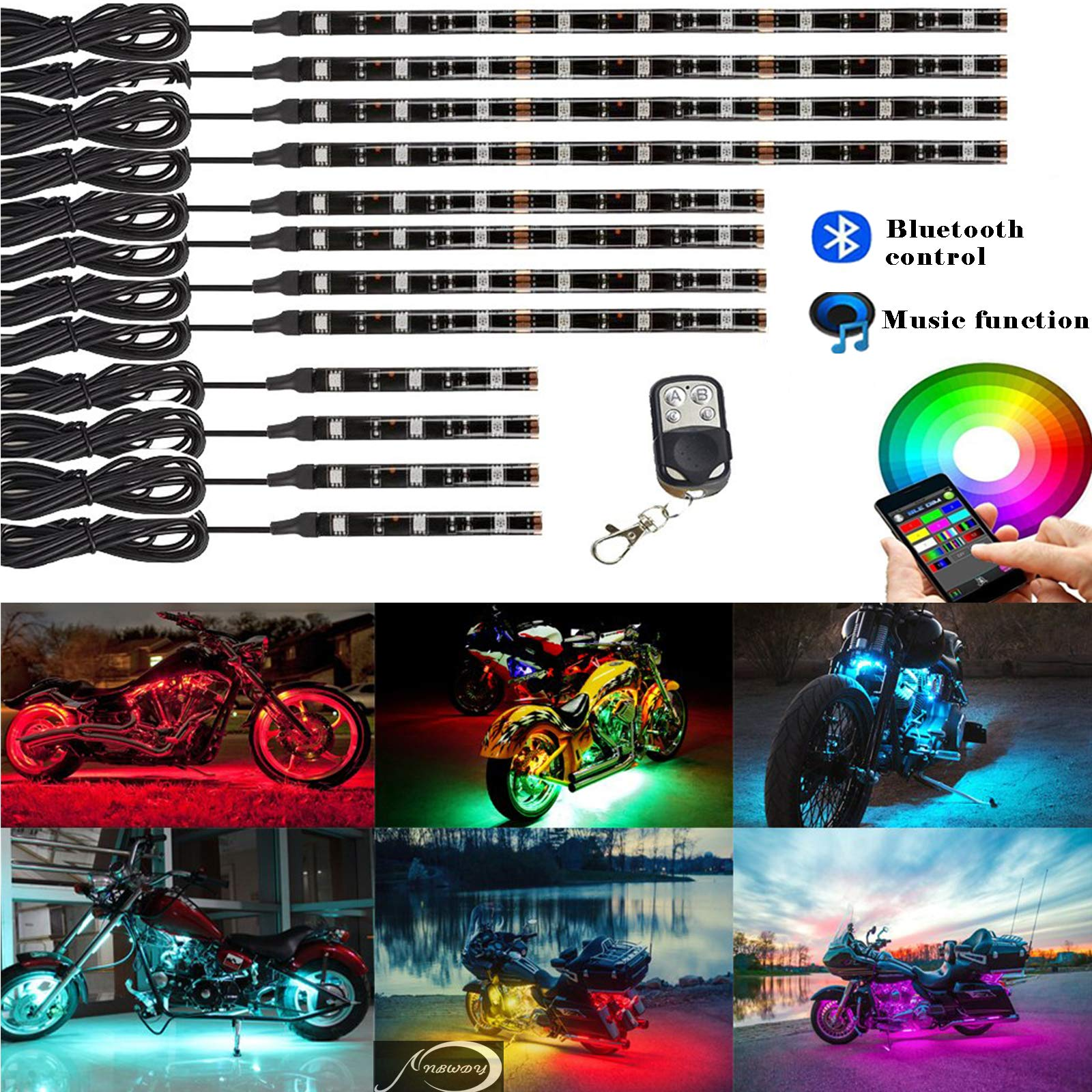 NBWDY 12Pcs Motorcycle LED Light Kit Strips Multi-Color Accent Glow Neon Lights Motorcycle Waterproof RF Bluetooth Controller led Motorcycle ATV Lights Music Sync for Motorcycle,ATV,Golf C