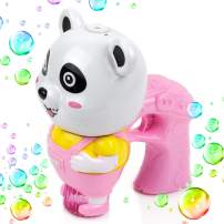 Toysery Panda Bubble Gun Machine for Boys & Girls, Non-ToxicToy Blaster with 1 Soap SolutionRefill, Leak-Resistant Indoor Outdoor Bubble Blower Gun with LED and Music for Party FavorsEaster – Pink
