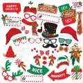 Christmas Photo Booth Props 38pc, Daugee Holiday Photo Booth Selfie Props Photography Artist Rendered Christmas Games for Party Supplie, Picture Backdrop Decorations Set Favors for Kids & Adults