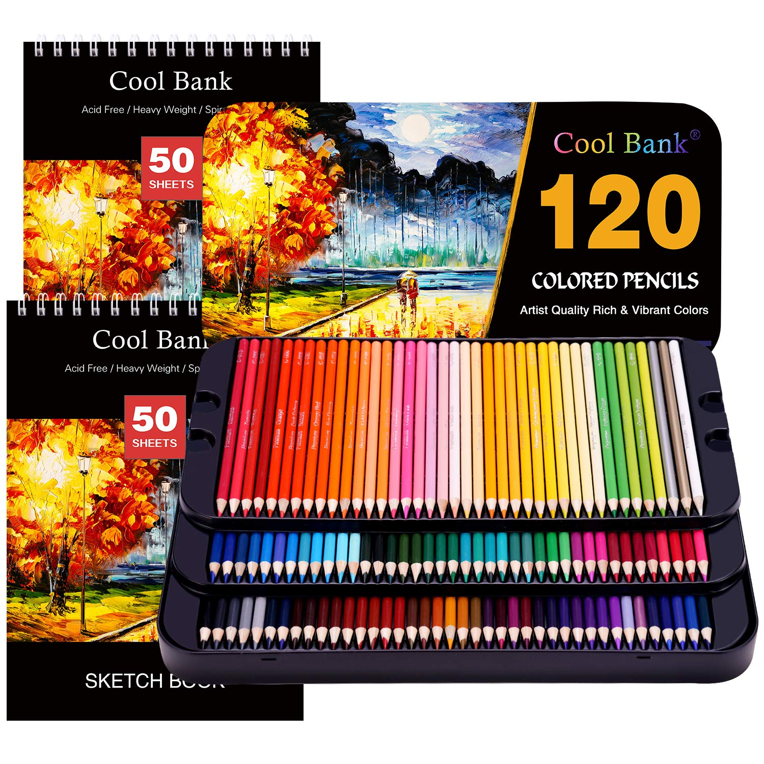 120 Professional Colored Pencils, Artist Pencils Set with 2x50 Page Drawing Pad(A4) for Coloring Books, Premium Artist Soft Series Lead with Vibrant Colors for Sketching,Shading & Coloring in Tin Box