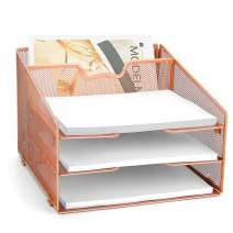 Rose Gold Desk Organizer,Meshist Metal Desktop File Holder Organzier with 3 Letter Tray and 1 Vertical Upright Section, Paper Organizer for Home Office Supplies and Desk Accessories