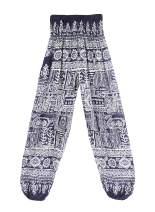 OMZIN Women's Comfy Stretch Floral Print Drawstring Long Wide Side Pocket Pants